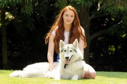 "Sophie Turner - With her adopted ""dire wolf"" from GoT in real life 